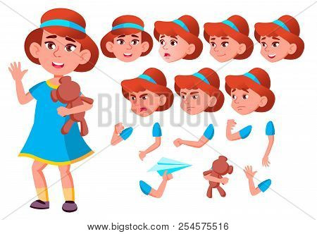Girl, Child, Kid, Teen Vector. Friend. Clever Positive Person. Face Emotions, Various Gestures. Anim