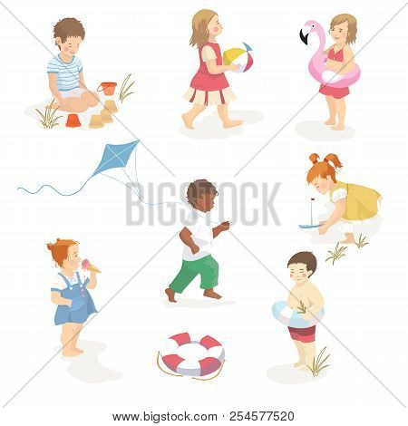 Collection Of Cartoon Kids Playing At The Beach. Character Set. Vector