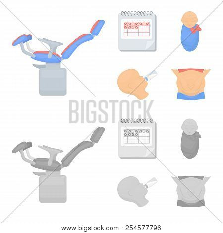 Calendar, Newborn, Stomach Massage, Artificial Feeding. Pregnancy Set Collection Icons In Cartoon, M