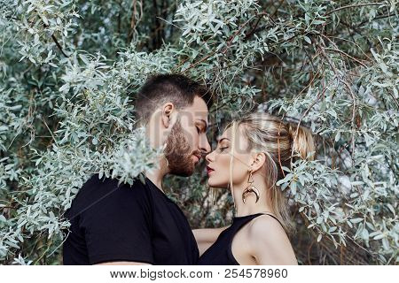 Hugs And Kiss Loving Couple In The Branches Of The Bushes. Walk Along The Road, A Man Kissing A Woma
