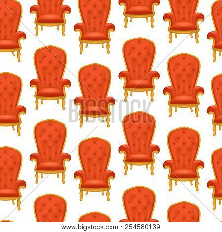 Realistic Detailed 3d Luxurious Antiquarian Armchair Seamless Pattern Background. Vector