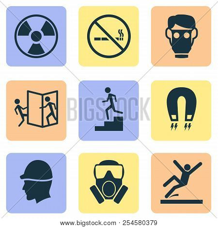 Safety icons set with toxic gas, beware of opening door, hat and other electromagnetic elements. Isolated  illustration safety icons. poster