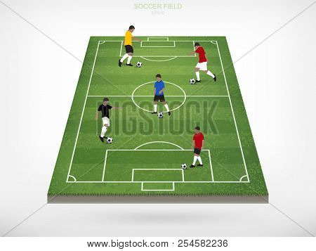 Soccer Player And Soccer Football Ball In Area Of Soccer Field With White Background. Abstract Actio