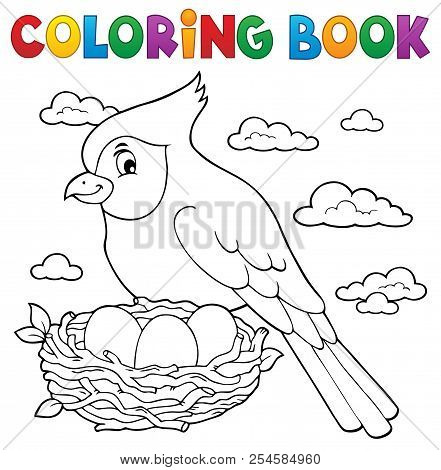 Coloring Book Bird Topic 3 - Eps10 Vector Picture Illustration.