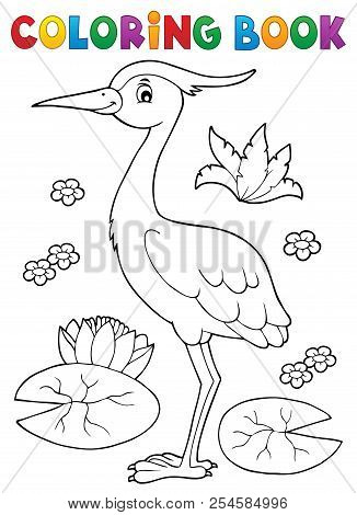 Coloring Book Bird Topic 4 - Eps10 Vector Picture Illustration.