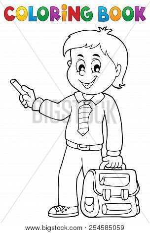 Coloring Book Happy Pupil Boy Theme 3 - Eps10 Vector Picture Illustration.