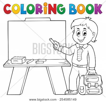 Coloring Book Happy Pupil Boy Theme 4 - Eps10 Vector Picture Illustration.