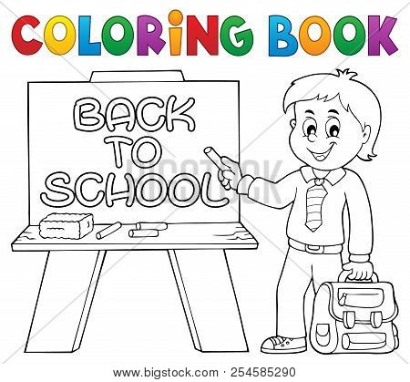 Coloring Book Happy Pupil Boy Theme 5 - Eps10 Vector Picture Illustration.