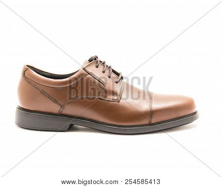 Studio Shot Shiny Brown Dress Cap Toe Oxford Shoes Isolate On White