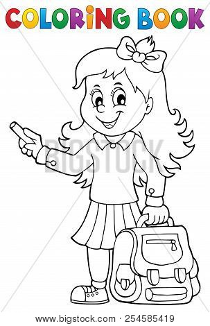 Coloring Book Happy Pupil Girl Theme 3 - Eps10 Vector Picture Illustration.