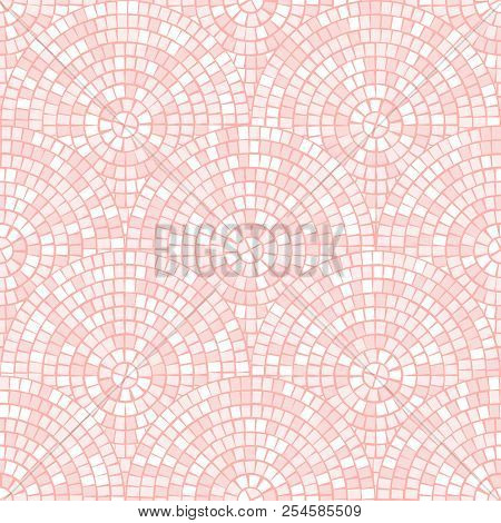 Light Pastel Pink Abstract Mosaic Seamless Pattern. Vector Background. Endless Texture. Ceramic Tile