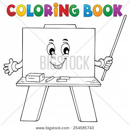 Coloring Book Happy Schoolboard Theme 1 - Eps10 Vector Picture Illustration.