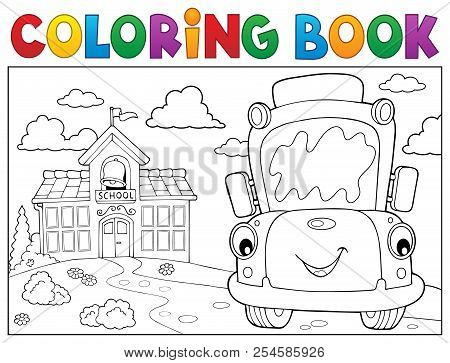 Coloring Book School Bus Theme 8 - Eps10 Vector Picture Illustration.