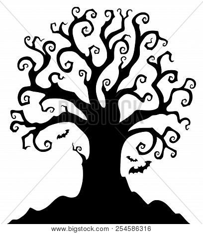 Halloween Tree Silhouette Topic 1 - Eps10 Vector Picture Illustration.