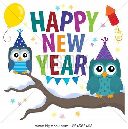 Happy New Year Theme With Owls - Eps10 Vector Picture Illustration.
