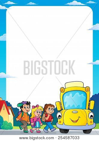 Children By School Bus Theme Frame 2 - Eps10 Vector Picture Illustration.