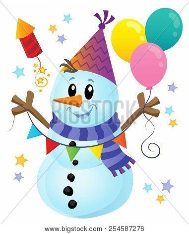 Party Snowman Theme Image 1 - Eps10 Vector Picture Illustration.