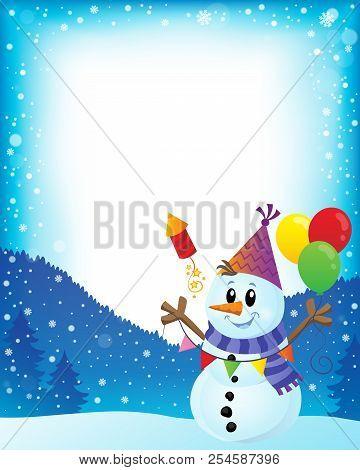 Party Snowman Theme Image 2 - Eps10 Vector Picture Illustration.
