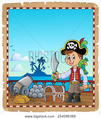 Pirate Boy Topic Parchment 1 - Eps10 Vector Picture Illustration.
