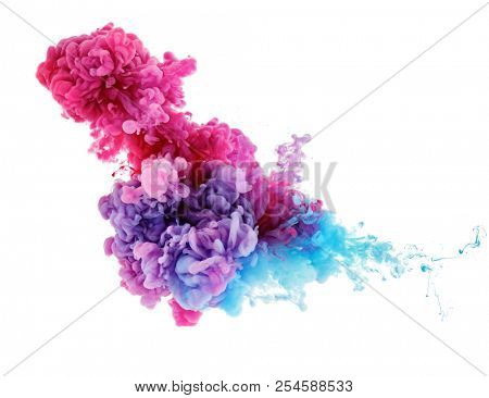 color splash in water from ink background
