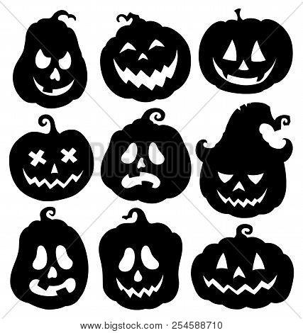 Pumpkin Silhouettes Theme Set 3 - Eps10 Vector Picture Illustration.