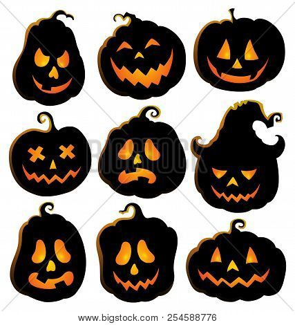 Pumpkin Silhouettes Theme Set 4 - Eps10 Vector Picture Illustration.