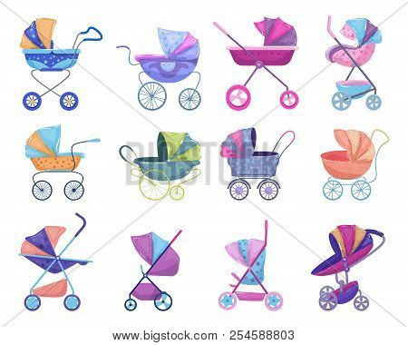 Stroller Vector Baby-stroller And Childish Buggy With Pram For Children Or Kids Carriage Illustratio