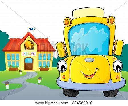 School Bus Thematics Image 6 - Eps10 Vector Picture Illustration.