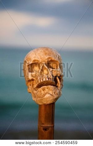Spooky Halloween Human Skull. Human Skull on a Bamboo Pole on the beach at sunset. Scary Human Skull on a pike. Human Skull sacrifice.