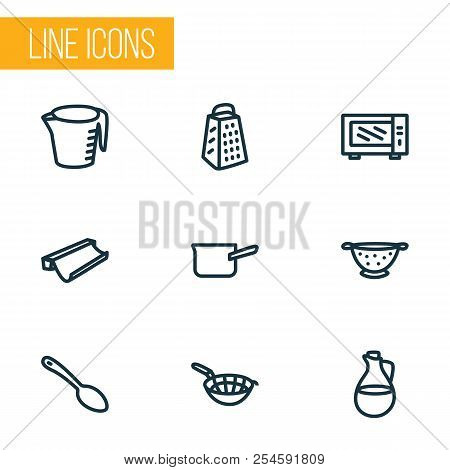 Kitchenware Icons Line Style Set With Casserole, Microwave, Sieve And Other Jug Elements. Isolated V