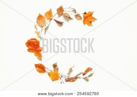 Autumn Background. Composition Made Of Seasonal Autumn Leaves On The Wooden Background With Free Spa