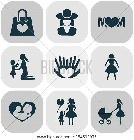 Mothers Day Icon Design Concept. Set Of 9 Such Elements As Female, Perambulator And Lady. Beautiful