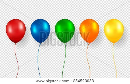 Balloon Vector. Realistic Flying Birthday Helium Balloon. Isolated On Transparent Background. Party