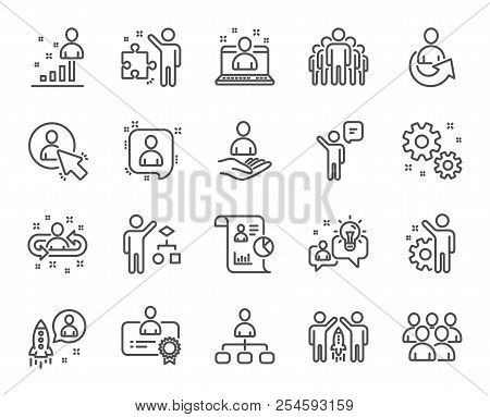 Management Line Icons. Set Of Business Audit, Startup Strategy And Employees Linear Icons. Business
