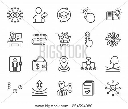 Artificial Intelligence, Balance And Refer A Friend Line Icons. Continuing Education, Methodology An