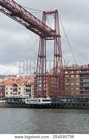 Bilbao, Spain-july 29, 2018: The Suspension Bridge Of Bizkaia (puente De Vizcaya) Between Getxo And