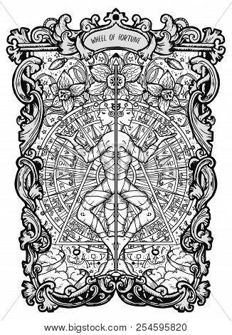 Wheel Of Fortune. Major Arcana Tarot Card. The Magic Gate Deck. Fantasy Engraved Vector Illustration
