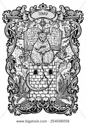 Tower. Major Arcana Tarot Card. The Magic Gate Deck. Fantasy Engraved Vector Illustration With Occul