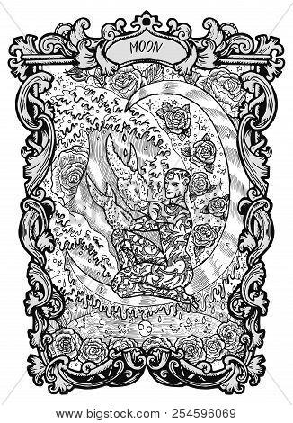 Moon. Major Arcana Tarot Card. The Magic Gate Deck. Fantasy Engraved Vector Illustration With Occult