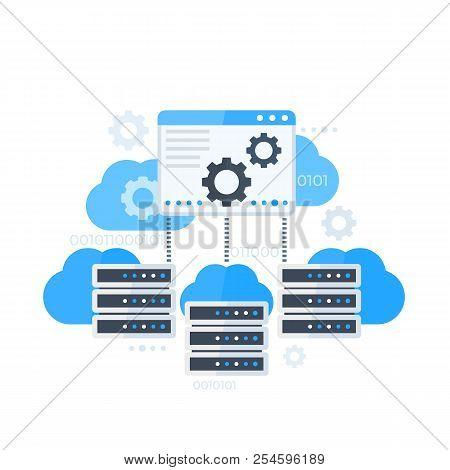 Server Control Panel, Hosting Software Vector Illustration, Eps 10 File, Easy To Edit