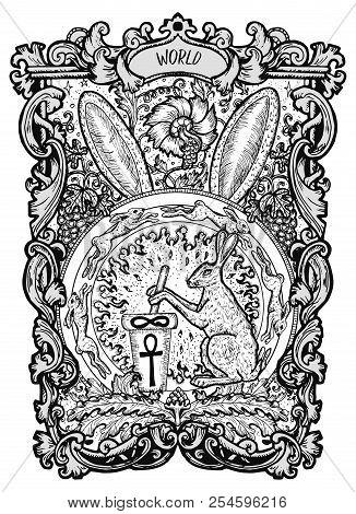 World. Major Arcana Tarot Card. The Magic Gate Deck. Fantasy Engraved Vector Illustration With Occul