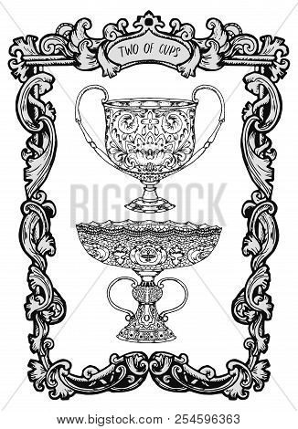 Two Of Cups. Minor Arcana Tarot Card. The Magic Gate Deck. Fantasy Engraved Vector Illustration With