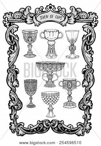 Seven Of Cups. Minor Arcana Tarot Card. The Magic Gate Deck. Fantasy Engraved Vector Illustration Wi