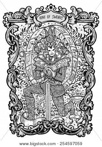 King Of Swords. Minor Arcana Tarot Card. The Magic Gate Deck. Fantasy Engraved Vector Illustration W