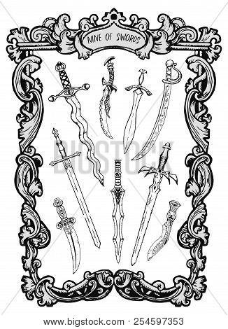 Nine Of Swords. Minor Arcana Tarot Card. The Magic Gate Deck. Fantasy Engraved Vector Illustration W