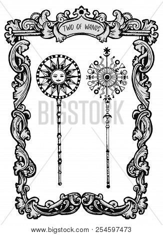 Two Of Wands. Minor Arcana Tarot Card. The Magic Gate Deck. Fantasy Engraved Vector Illustration Wit