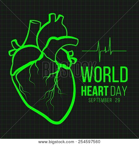 World Heart Day Banner With Green Human Heart Sign And Wave Heart Sign On Monitor Black Background V