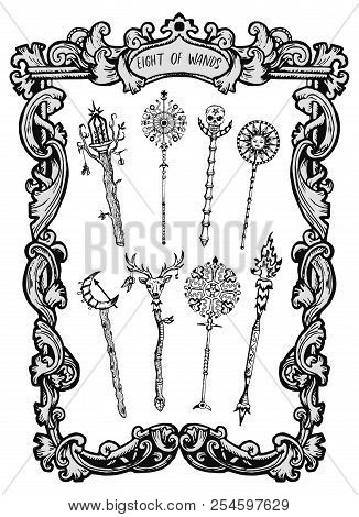 Eight Of Wands. Minor Arcana Tarot Card. The Magic Gate Deck. Fantasy Engraved Vector Illustration W
