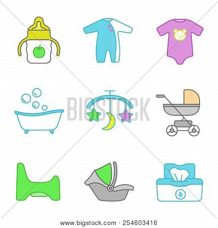 Childcare color icons set. Sippy cup, romper, bodysuit, bathtub, bed carousel, baby carriage, potty chair, car seat, wet wipes. Isolated vector illustrations poster