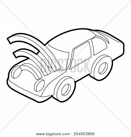 Car With Wifi Sign Icon. Outline Illustration Of Car With Wifi Sign Icon For Web